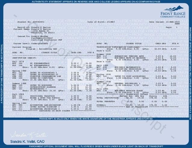 Front range transcript copy copyofofficialtranscript 2 aphotocopyofthistranscriptisnotofficial transcript altavistaventures Images