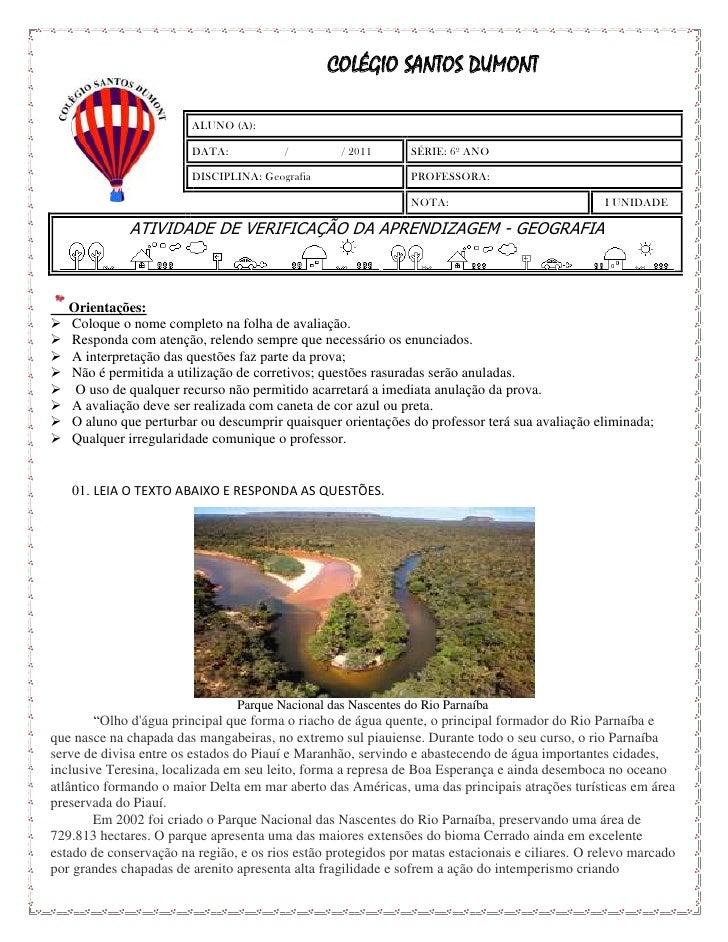 COLÉGIO SANTOS DUMONT                         ALUNO (A):                         DATA:           /         / 2011       SÉ...