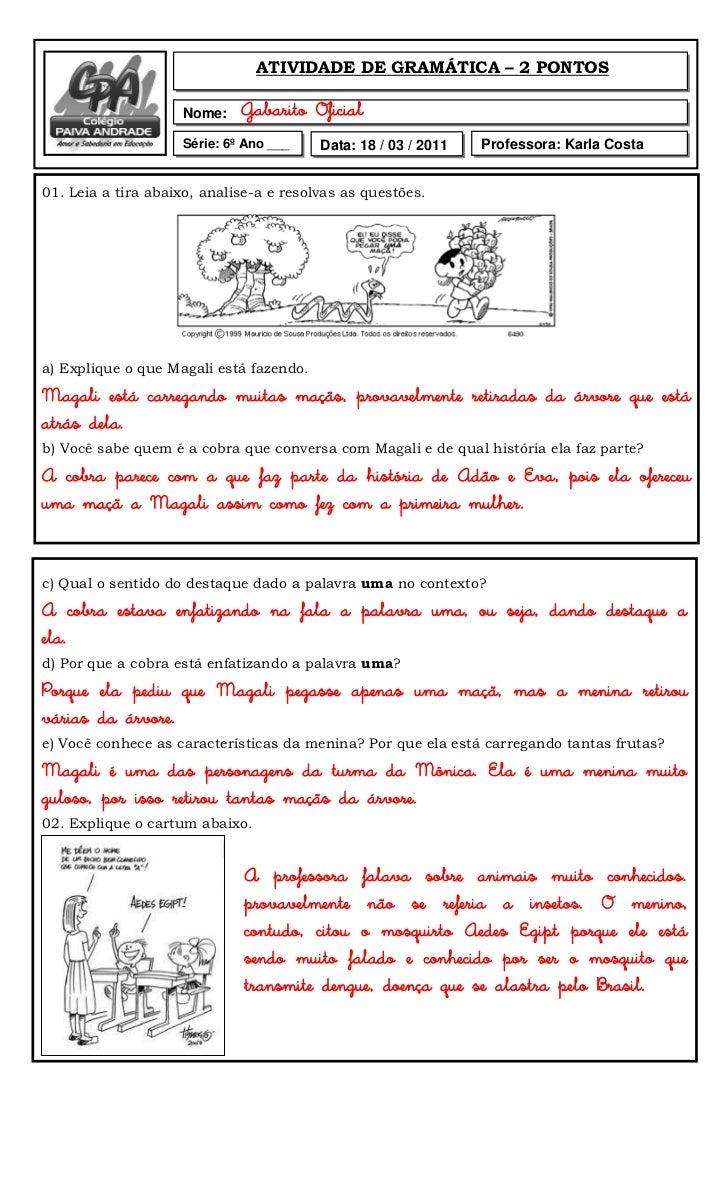 ATIVIDADE DE GRAMÁTICA – 2 PONTOS                    Nome:    Gabarito Oficial                    Série: 6º Ano ___    Dat...