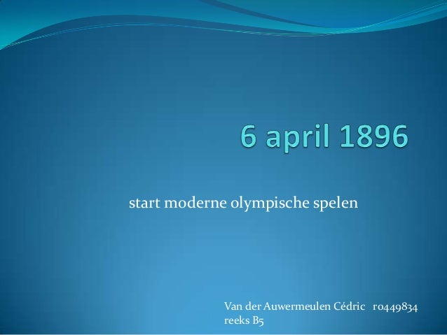 start moderne olympische spelen  Van der Auwermeulen Cédric r0449834 reeks B5