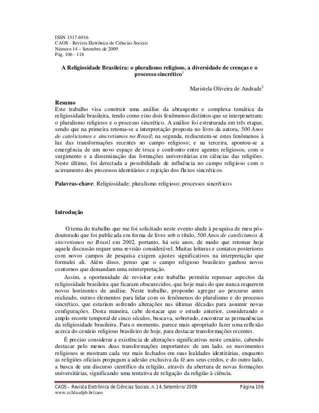 CAOS – Revista Eletrônica de Ciências Sociais, n. 14, Setembro/2009 Página 106 www.cchla.ufpb.br/caos ISSN 1517-6916 CAOS ...