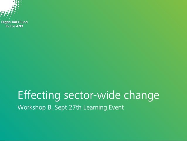 Effecting sector-wide change Workshop B, Sept 27th Learning Event