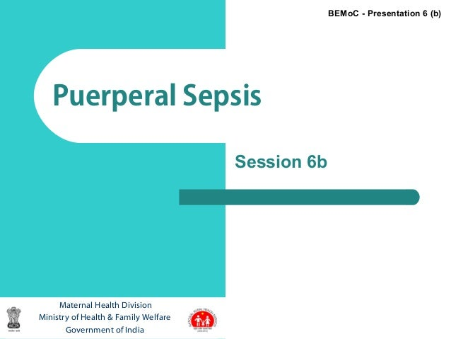 1Puerperal SepsisMaternal Health DivisionMinistry of Health & Family WelfareGovernment of IndiaBEMoC - Presentation 6 (b)S...