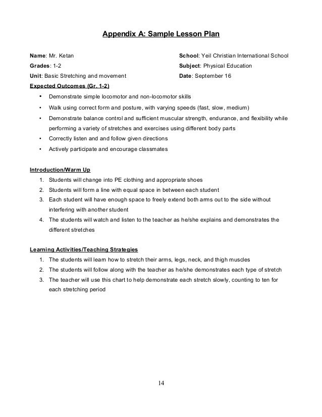 Elementary Physical Education Curriculum Guide – Sample Physical Education Lesson Plan Template
