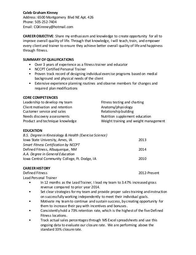Caleb Graham Kinney Fitness Resume