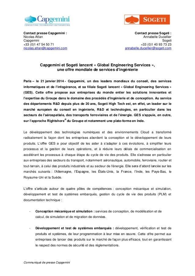 Communiqué de presse Capgemini Contact presse Capgemini : Nicolas Atlan Capgemini +33 (0)1 47 54 50 71 nicolas.atlan@capge...