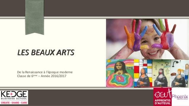 LES BEAUX ARTS De la Renaissance à l'époque moderne Classe de 6ème – Année 2016/2017