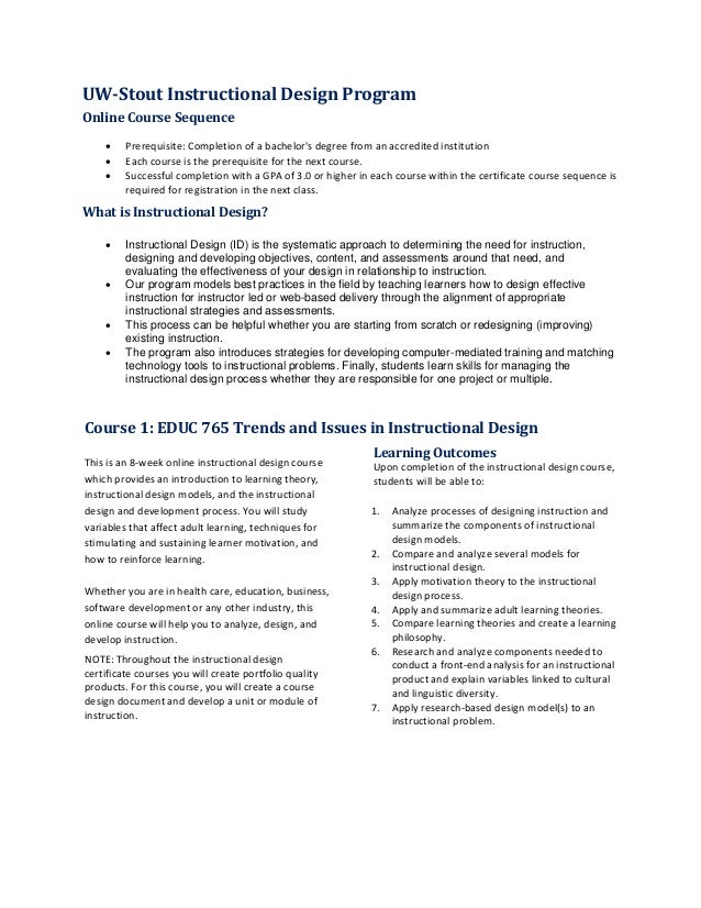 Uw Stout Instructional Design Program Overview