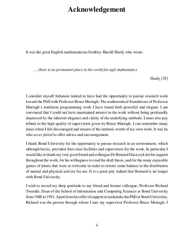 Acknowledgment for dissertation