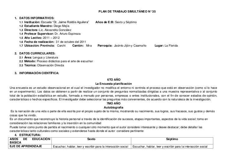 """PLAN DE TRABAJO SIMULTÁNEO N° 35   1. DATOS INFORMATIVOS:      1.1 Institución: Escuela """"Dr. Jaime Roldós Aguilera""""      A..."""