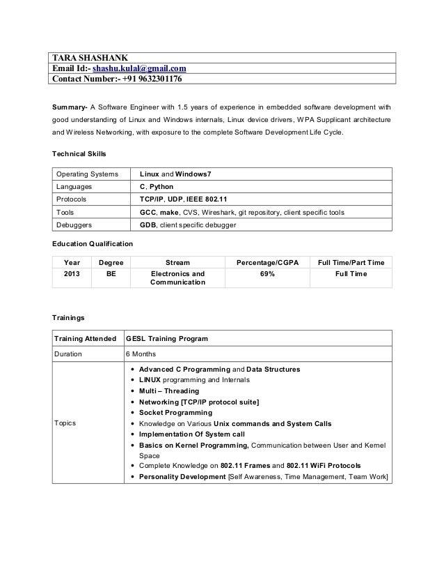 TARA SHASHANK Email Id:- shashu.kulal@gmail.com Contact Number:- +91 9632301176 Summary- A Software Engineer with 1.5 year...