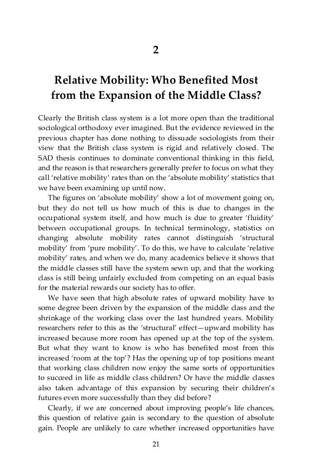 Intergenerational class mobility and the convergence thesis