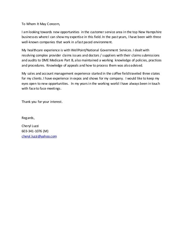 Cheryl luzzi cover letter 2015 to whom it may concern i am looking towards new opportunities in the customer service thecheapjerseys Choice Image