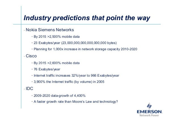 Industry predictions that point the wayIndustry predictions that point the way • Nokia Siemens Networks • By 2015 2,500% m...