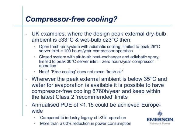 셀Ў CompressorCompressor--free cooling?free cooling? • UK examples, where the design peak external dry-bulb ambient is c33°...