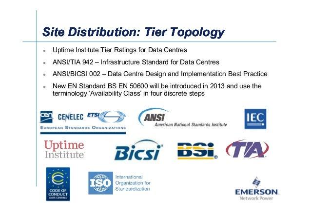 漐Ў Uptime Institute Tier Ratings for Data Centres ANSI/TIA 942 – Infrastructure Standard for Data Centres ANSI/BICSI 002 –...