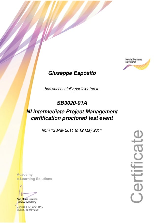 Certificate Ni Intermediate Project Management Certification Proctore