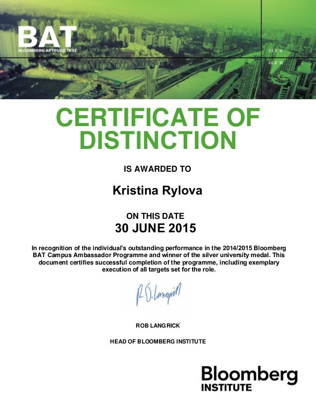Certificate By Bloomberg