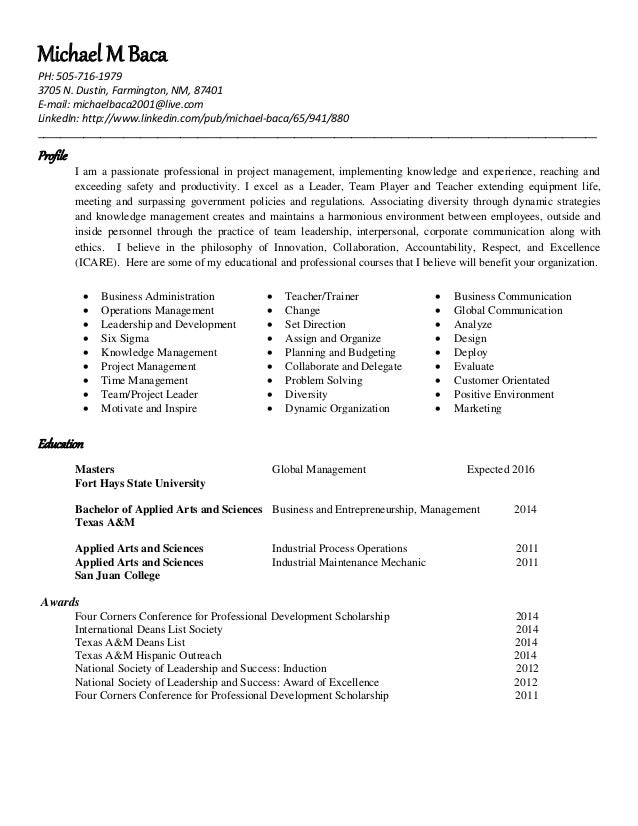 national society of leadership and success resume
