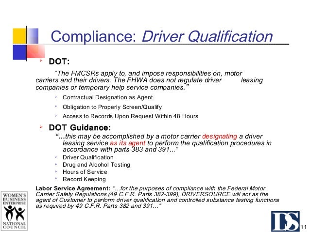 """Compliance: Drug & Alcohol Testing DOT: """"The driver must be in the pool of each employer for which the driver works. An em..."""