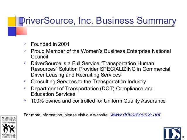 Summary of Key Fundamentals  DriverSource provides THE solutions to our client's transportation workforce issues. Recruit...