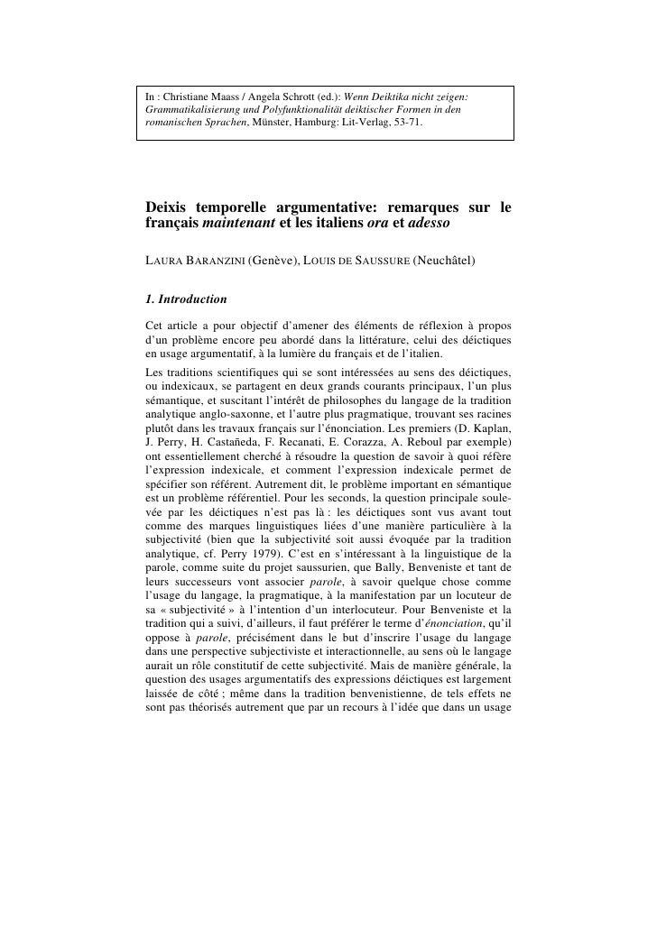 In : Christiane Maass / Angela Schrott (ed.): Wenn Deiktika nicht zeigen: Grammatikalisierung und Polyfunktionalität deikt...