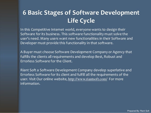 6 Basic Stages of Software Development Life Cycle Prepared By: Riant Soft In this Competitive Internet world, everyone wan...