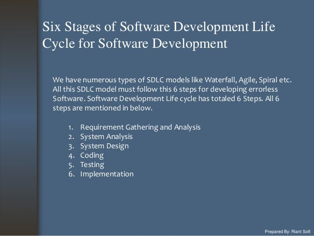 Prepared By: Riant Soft We have numerous types of SDLC models like Waterfall, Agile, Spiral etc. All this SDLC model must ...
