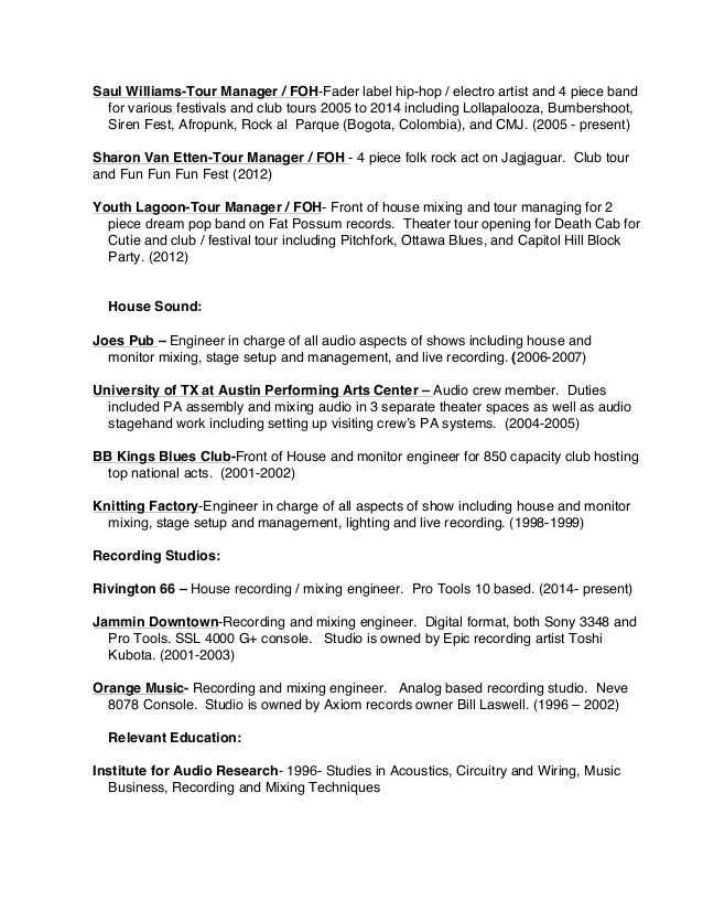 tour manager resume legal resume examples resume format download pdf 2014 2 saul williams tour manager