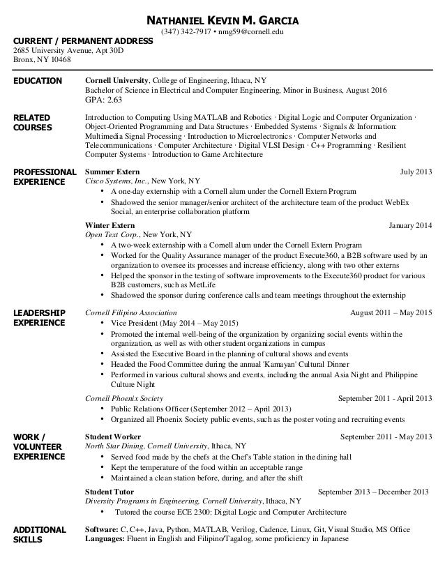 Final College Resume. NATHANIEL KEVIN M. GARCIA (347) 342 7917 U2022  Nmg59@cornell.  Some College On Resume