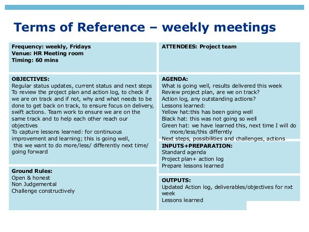 Project steering group terms of reference
