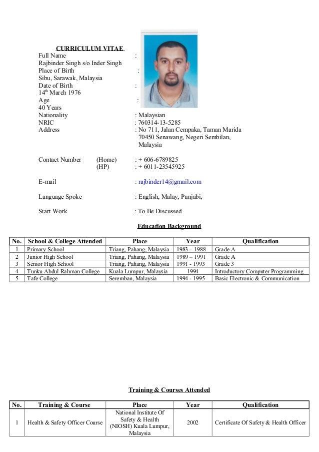 Rajbinder Singh Curriculum Vitae Cv