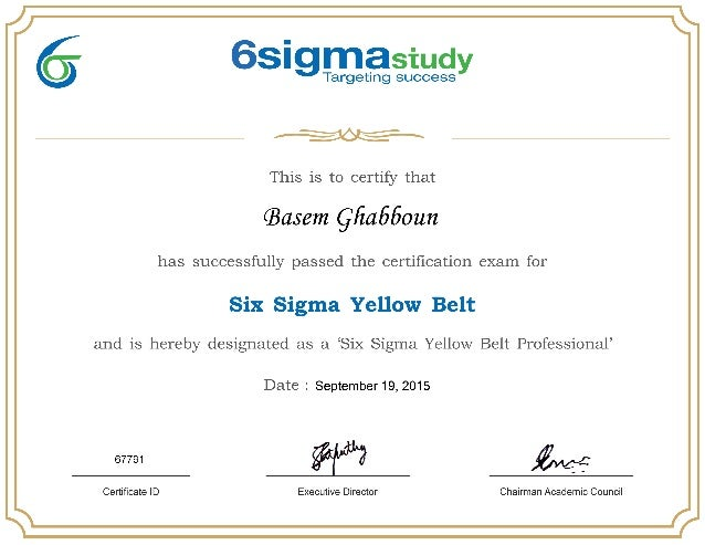 6sigma Yellow Belt Certificate