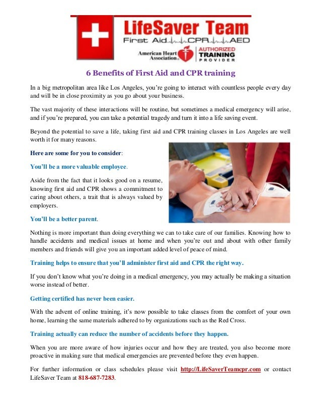 6 Benefits Of First Aid And Cpr Training