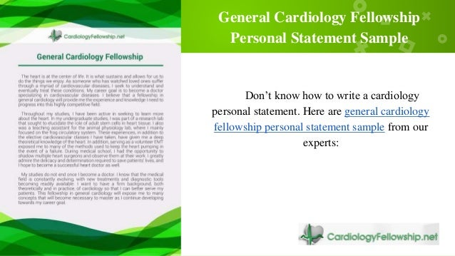 6 Best Samples of Personal Statement in Cardiology