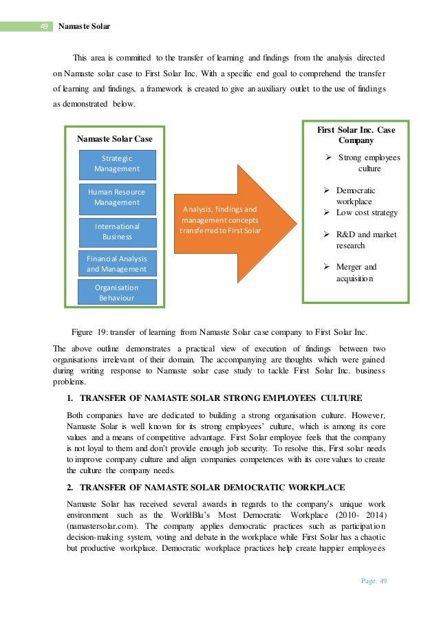 namaste solar case study Namaste solar  access to case studies expires six months after purchase date  publication date: june 11, 2010 should a fast-growing, employee-owned.
