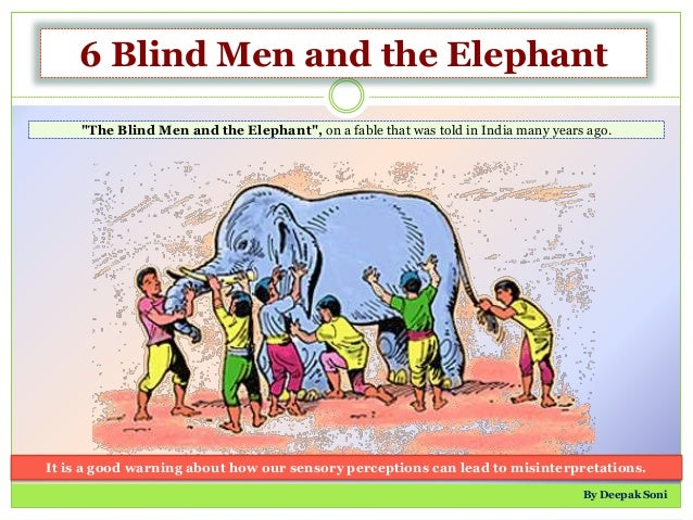 """6 Blind Men and the Elephant """"The Blind Men and the Elephant"""", on a fable that was told in India many years ago. It is a g..."""