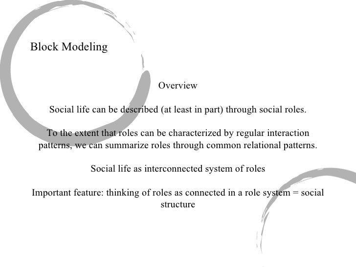 Block Modeling Overview Social life can be described (at least in part) through social roles. To the extent that roles can...