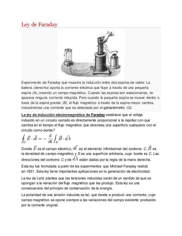 Ley de Faraday Experimento de Faraday que muestra la inducción entre dos espiras de cable: La batería (derecha) aporta la ...