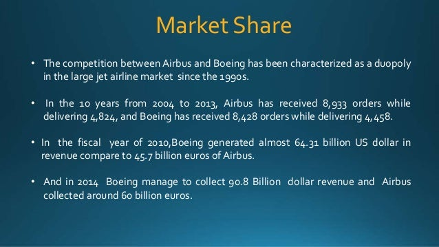 competition between boeing and airbus Explaining the airbus-boeing rivalry 0  one of the earliest incidents of competition between boeing and airbus is that of the boeing 737 and airbus a320 family.