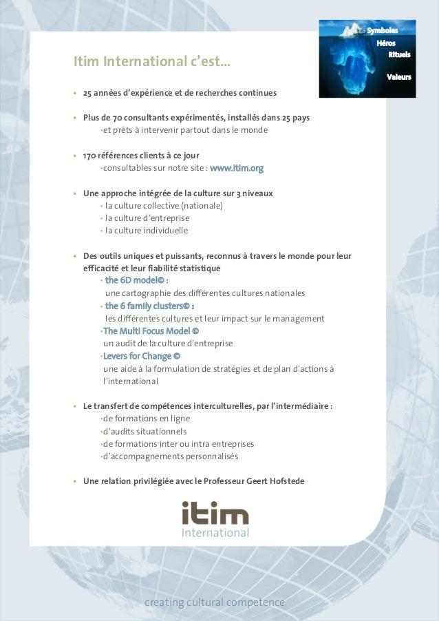 Itim International c'est…  • 25 années d'expérience et de recherches continues  • Plus de 70 consultants expérimentés, ins...