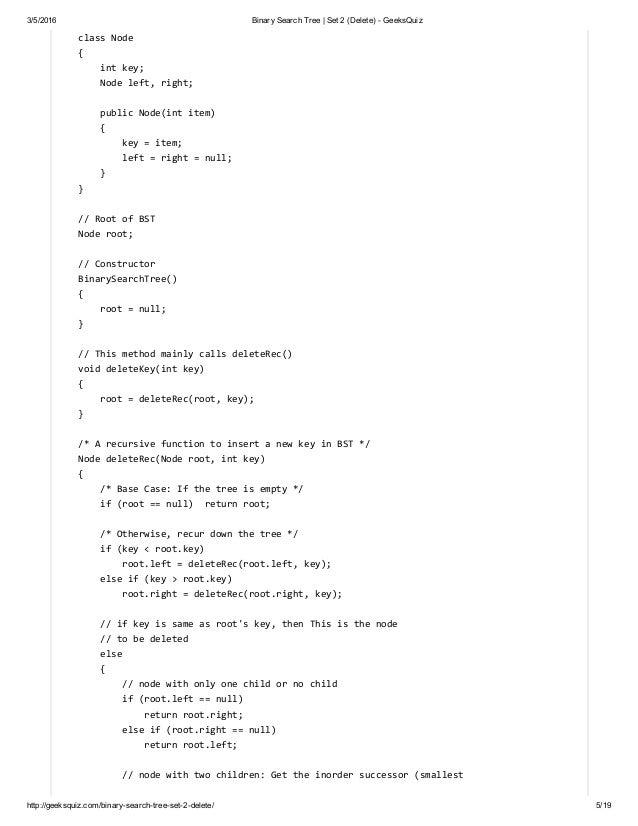 Binary Search Tree _ Set 2 (Delete) - GeeksQuiz