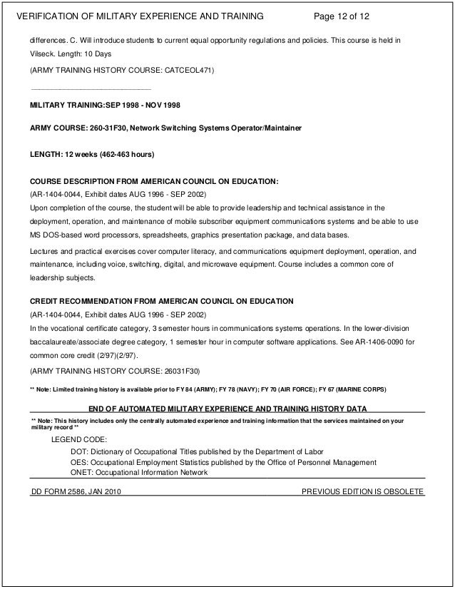 Verfication of Military Experience Document