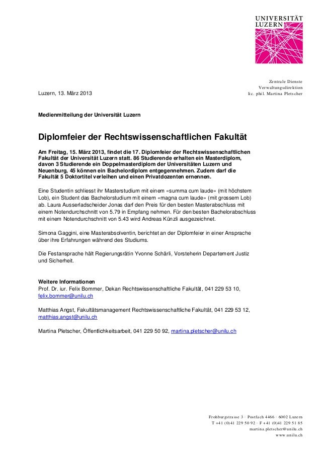 Frohburgstrasse 3 ∙ Postfach 4466 ∙ 6002 Luzern T +41 (0)41 229 50 92 ∙ F +41 (0)41 229 51 85 martina.pletscher@unilu.ch w...