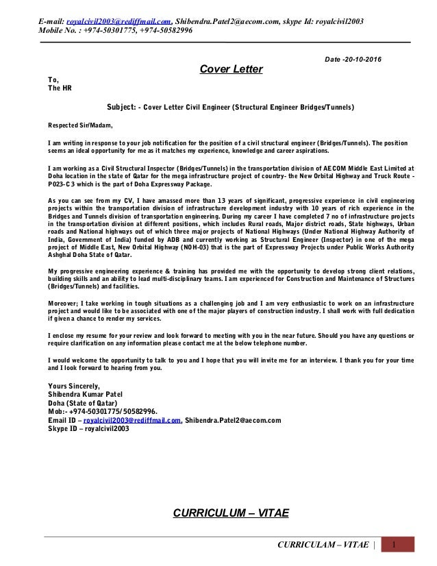 Aecom Cover Letter