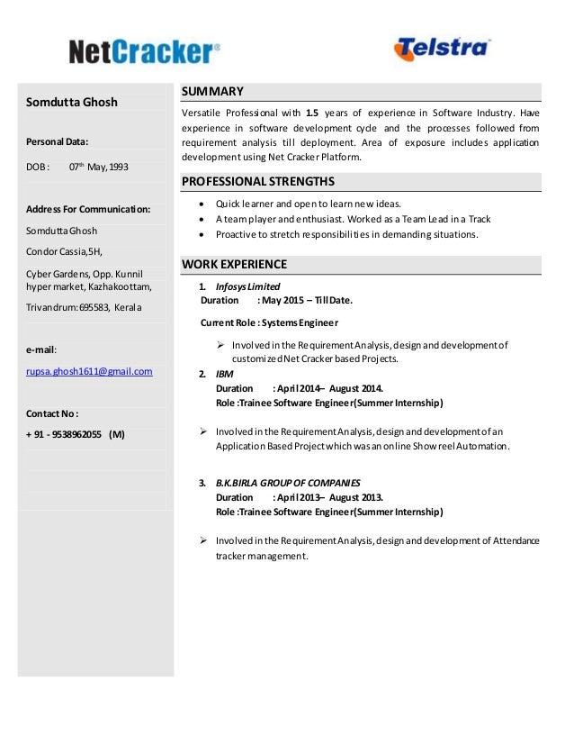 SomduttaGhosh Personal Data: DOB : 07th May,1993 AddressFor Communication: SomduttaGhosh CondorCassia,5H, CyberGardens,Opp...