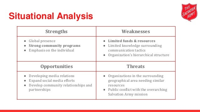 swot analysis salvation army Stockton 2020 strategic planning process  develop a swot analysis and vision statement step 2: determine the strategic themes that support the vision.