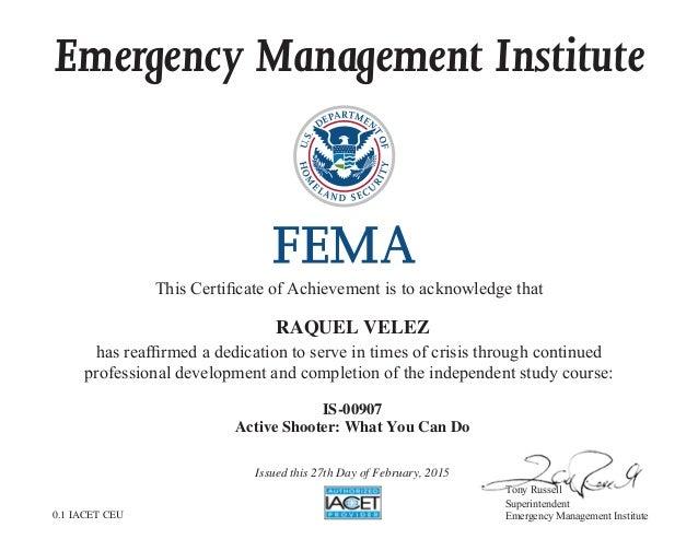 Fema Certificate Of Achievement
