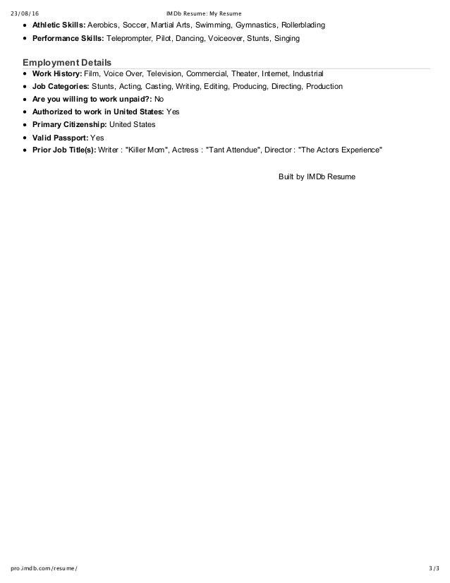 IMDb Resume_ My Resume