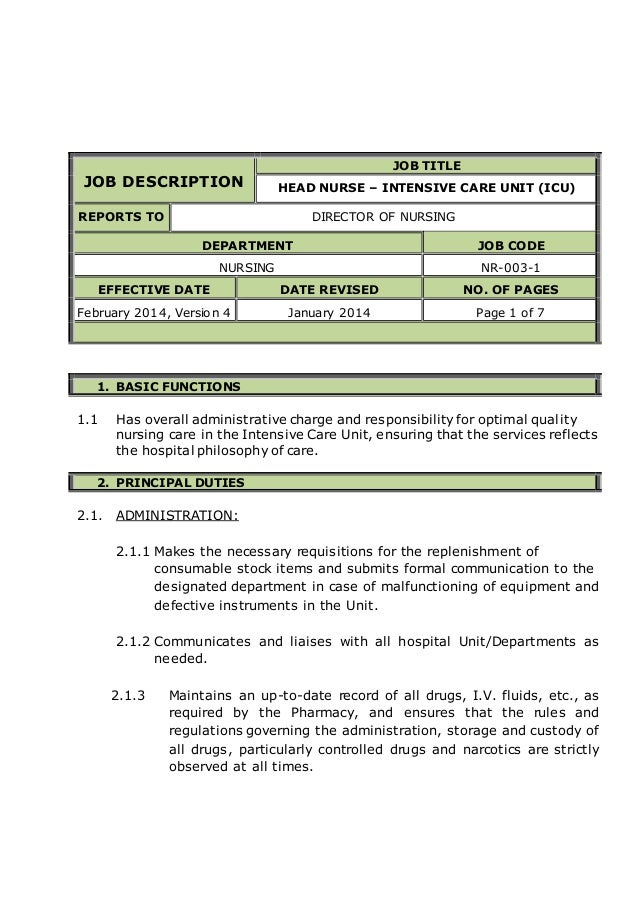 Head Nurse Intensive Care Unit Icu Job Description